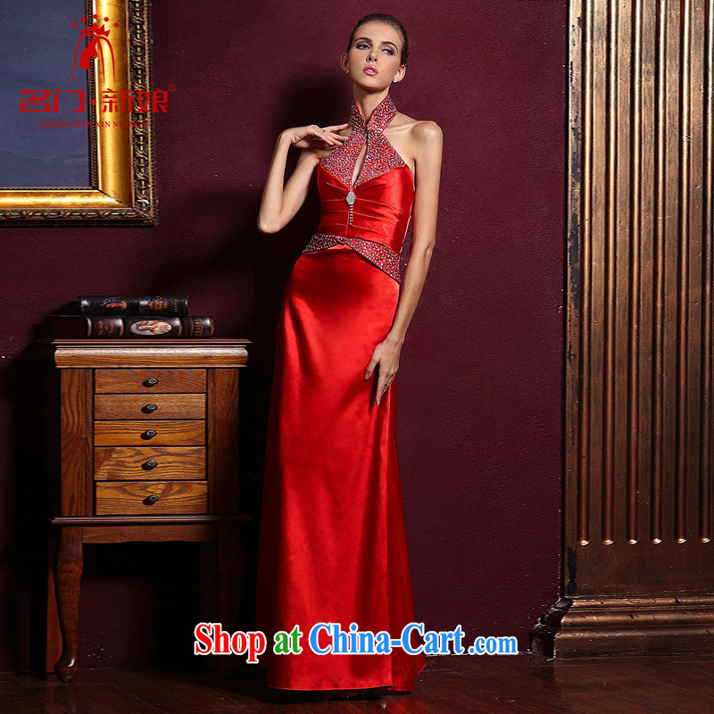 The bride's wedding dresses marriage is also dress red bows, dress with 762 red M