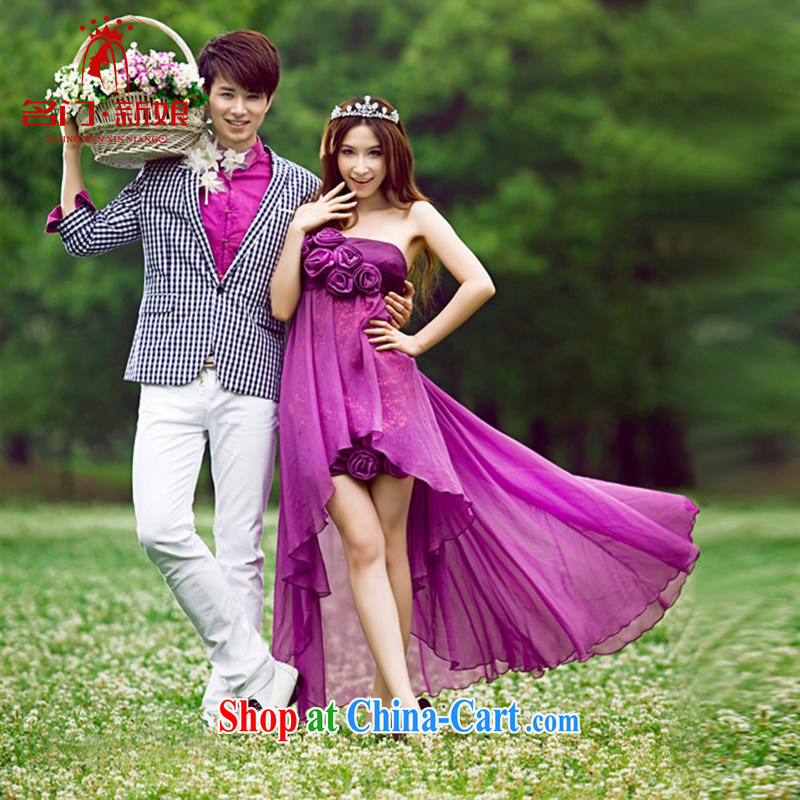 The bride's wedding dresses 2015 new front short long purple dress manual flowers 409 purple M