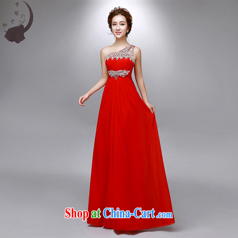 Dream of the day wedding dresses summer 2015 new marriage toast serving high-waist, shoulder parquet drill banquet straps dress 8016 red XXXL 2.4 feet waist