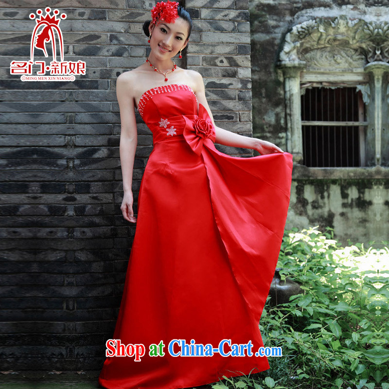 The bride's wedding dresses 2015 new wedding dresses toast red evening dress bridal load 641 red M