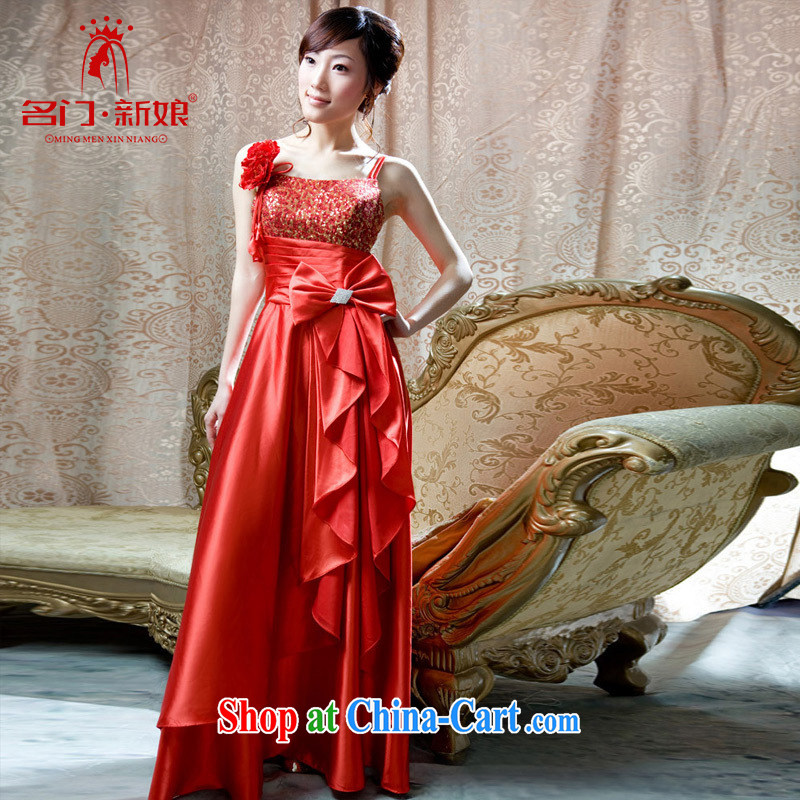The bride's wedding dresses marriage red bows dress stylish single shoulder dress 766 red M
