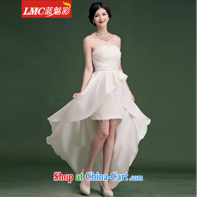 Clear blue color 2014 autumn and winter clothes new, short before long sexy bare chest small dress dress cocktail reception dinner Evening Dress white are code