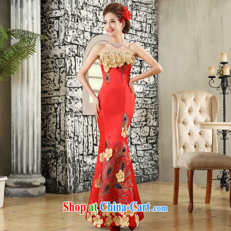A good service is 2015 New Red bridal wedding dresses wedding dress chest bare crowsfoot long gown dress red 2 XL