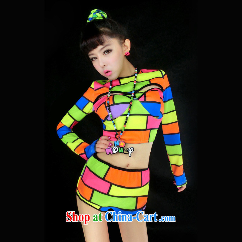 According to dance Hip Hop new night bar DS performance service fluorescent color for dance clothing jazz-scene with hip-hop, Split #8148 cool color are code
