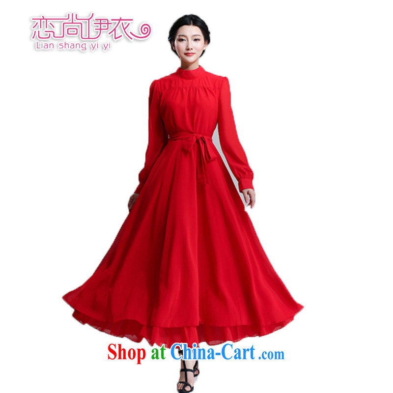 Land is still the Yi 2015 spring new Korean style long-sleeved snow-woven dresses ultra-large long skirt China's Red lady dresses bridesmaid bridal gown dress red XL