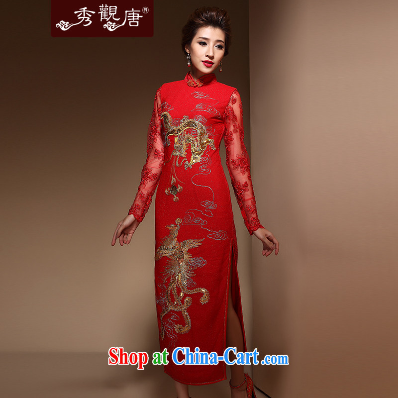 Cyd Ho Kwun Tong Cheung Itanium 2015 new Autumn with long cheongsam Chinese wedding dress bridal toast QX service 3806 red L