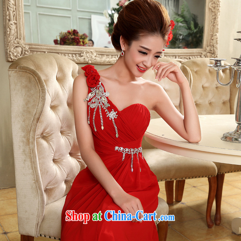 A good service is 2015 new single shoulder parquet drill flowers red bridal wedding dresses wedding dresses long evening dress skirt red 2 XL