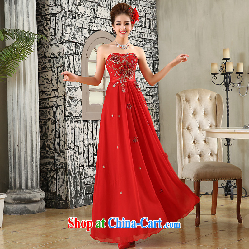 A good service is 2015 New Red bridal wedding dress wiped his chest long with wedding dress skirt red S