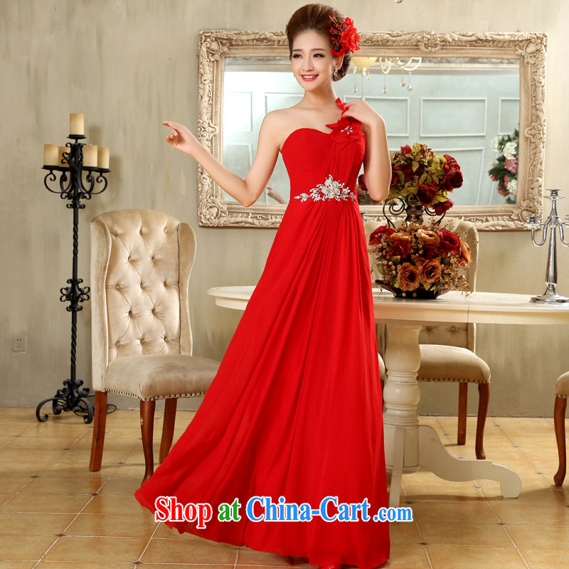 A good service is 2015 new bride wedding dress red long wedding dresses dress single shoulder flowers with red 2 XL