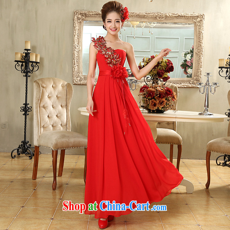 A good service is 2015 new bride wedding dress Long Red single shoulder flowers with wedding dress skirt red 2 XL
