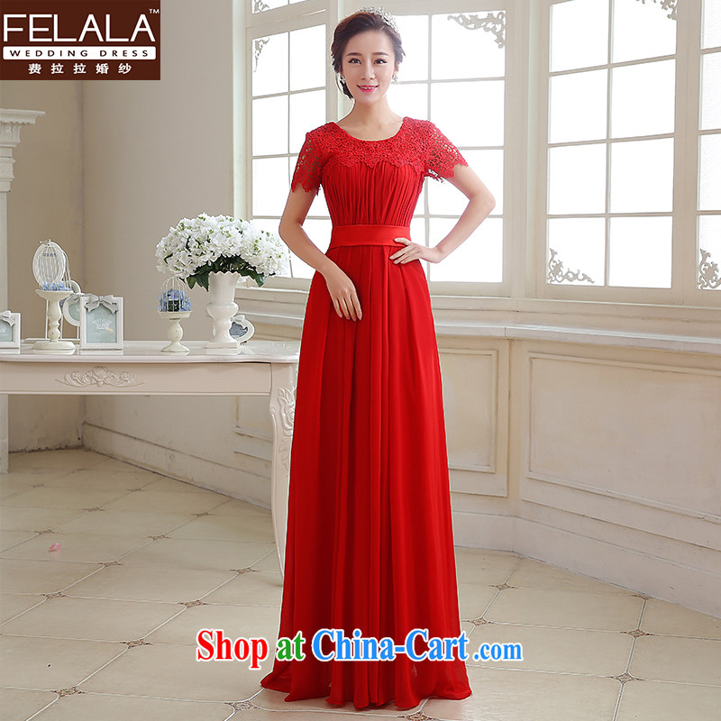 2015 new bridal gown classic round-collar sexy lace tie bows dress uniform XL Suzhou shipping