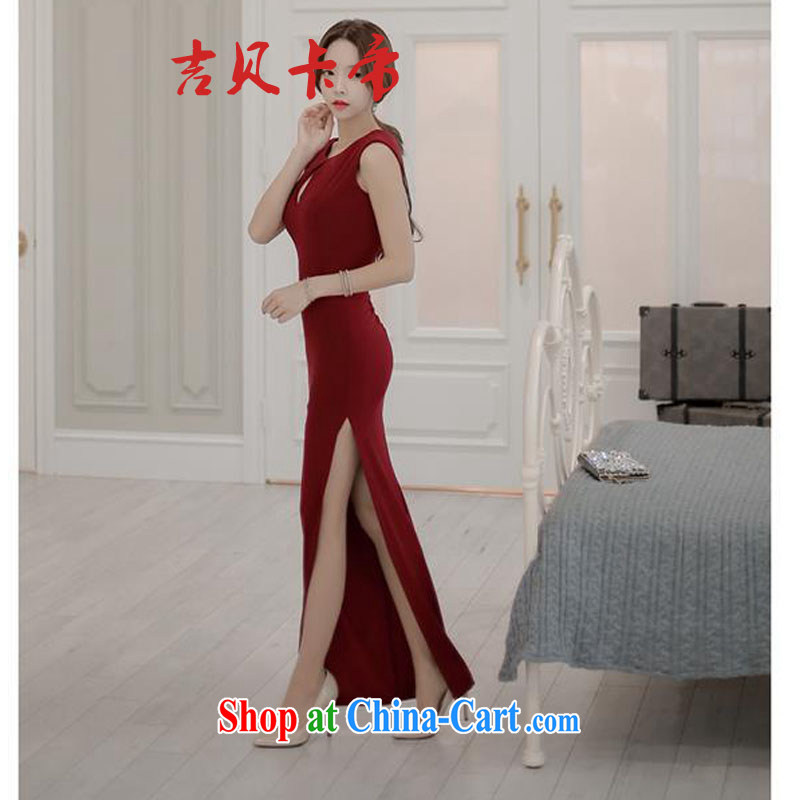 The Bekaa in Dili 5573 wine red back exposed side on the truck banquet toast dress long dress red wine are code