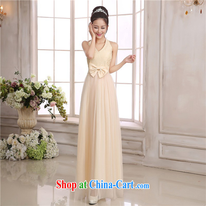 Package e-mail delivery Korean elegance Deep V collar sexy back exposed small dress wedding dress sister bridesmaid mission Small dress lady long lace Annual Meeting a light champagne color code