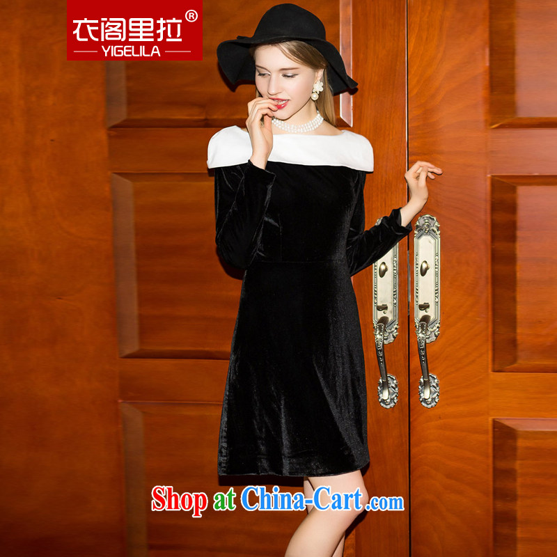 Yi Ge lire name yuan style long-sleeved gown gold velour retro beauty knocked color collar long-sleeved gown dress black 6913 L