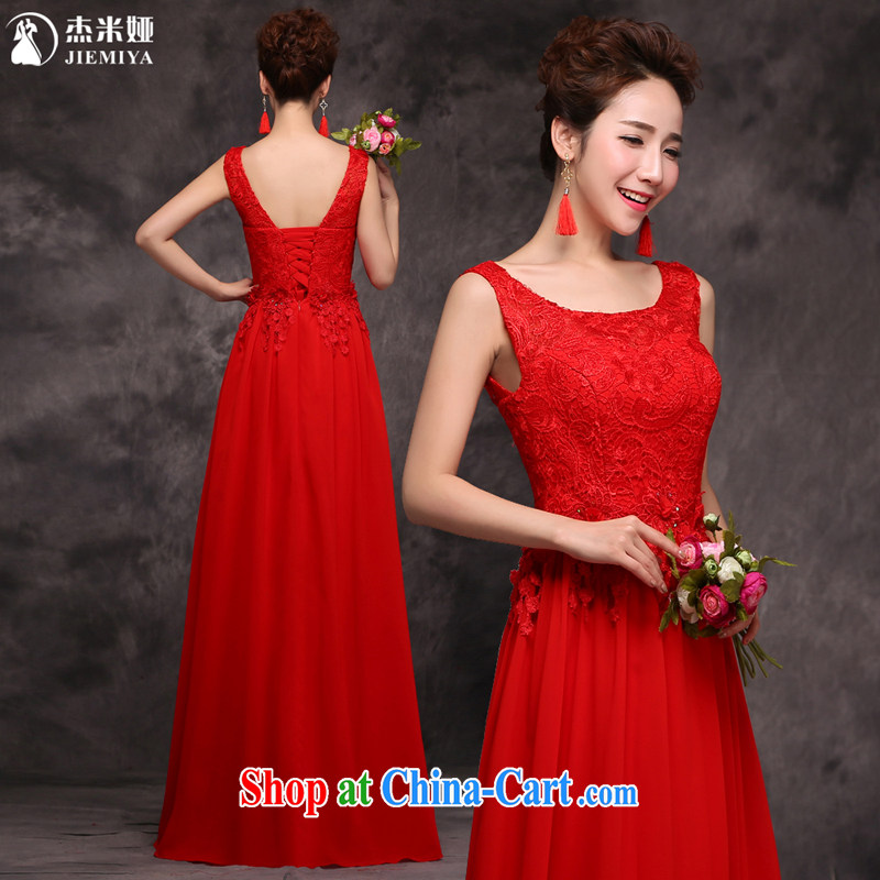 Jie MIA 2015 New Red double-shoulder-length, cultivating lace Evening Dress bridal wedding dress toast serving evening dress female Red XXL, Jake Mia, and shopping on the Internet