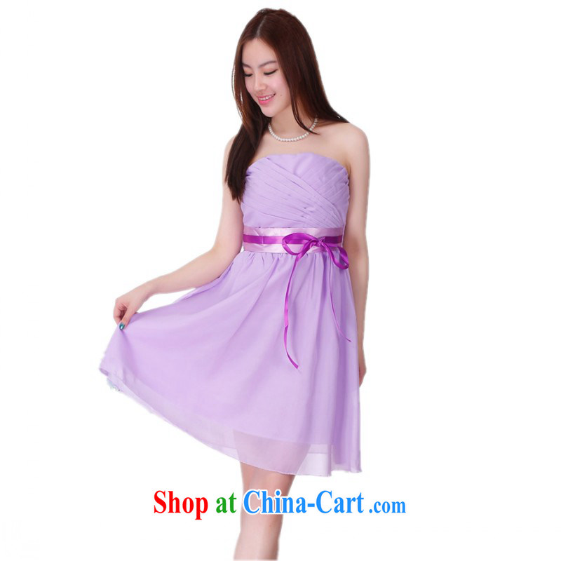 The package mail 2015 new small dress bridal wedding dress purple smears chest sexy shaggy dress Princess evening dress annual dress straps short skirts purple are code
