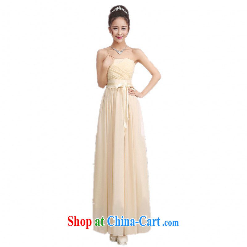 The package mail 2015 new long skirt small annual dress Evening Dress wrapped chest stylish ribbon-waist bridesmaid sister skirt snow woven dresses beauty champagne color code