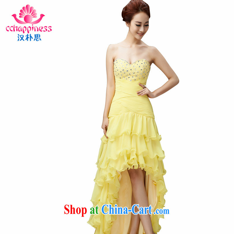 Han Park (cchappiness) 2015 new sexy bare chest stylish bows clothing bridesmaid Service Annual Meeting dress yellow XXL (7 days shipping)