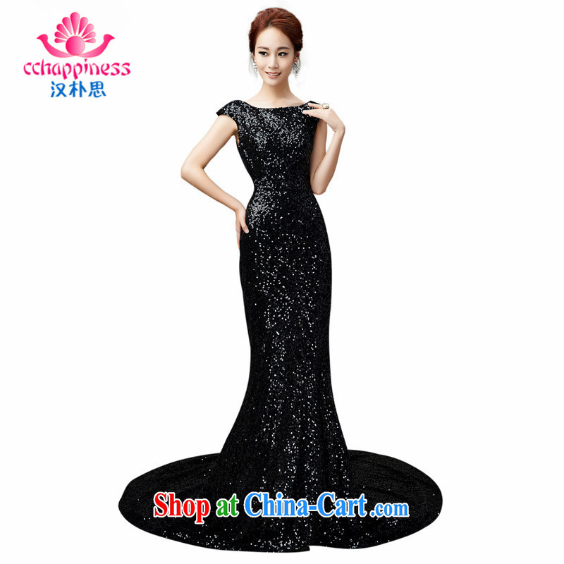 Han Park (cchappiness) 2015 New Beauty long serving toast sexy banquet Annual Meeting dress black S (7 days shipping)