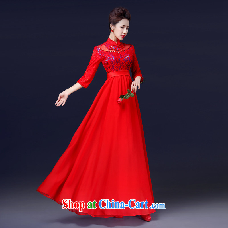 Jie MIA bows. Stylish bridal 2015 New Red wedding dresses wedding retro dress, long-sleeved gown long XS