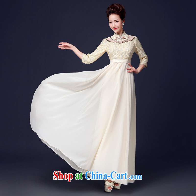 Jie MIA dress 2015 new stylish cuff in long marriages champagne color toast serving bridesmaid presided over his dress long XXL