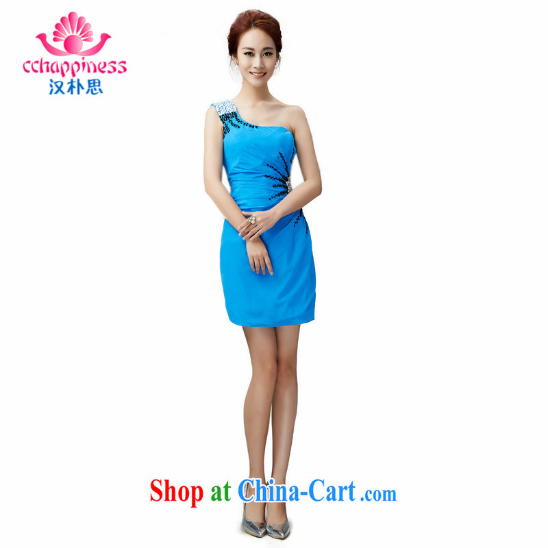 Han Park (cchappiness) 2015 new erase chest single shoulder short-serving toast bridesmaid gathering service banquet dress blue L lightning shipping