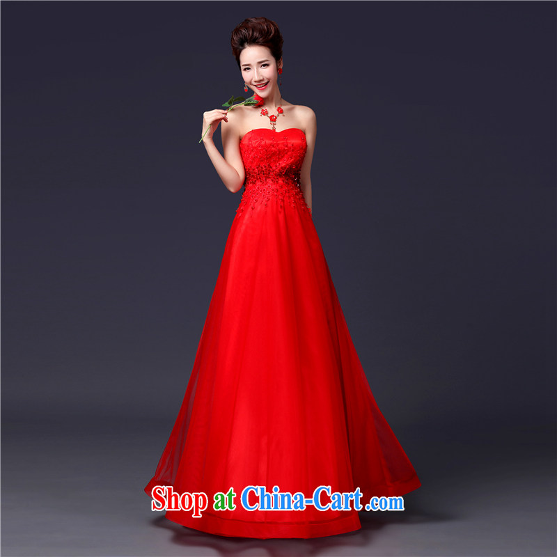 Jie MIA 2014 new stylish erase chest lace beauty dress bridal wedding dress red tie bows serving long red L