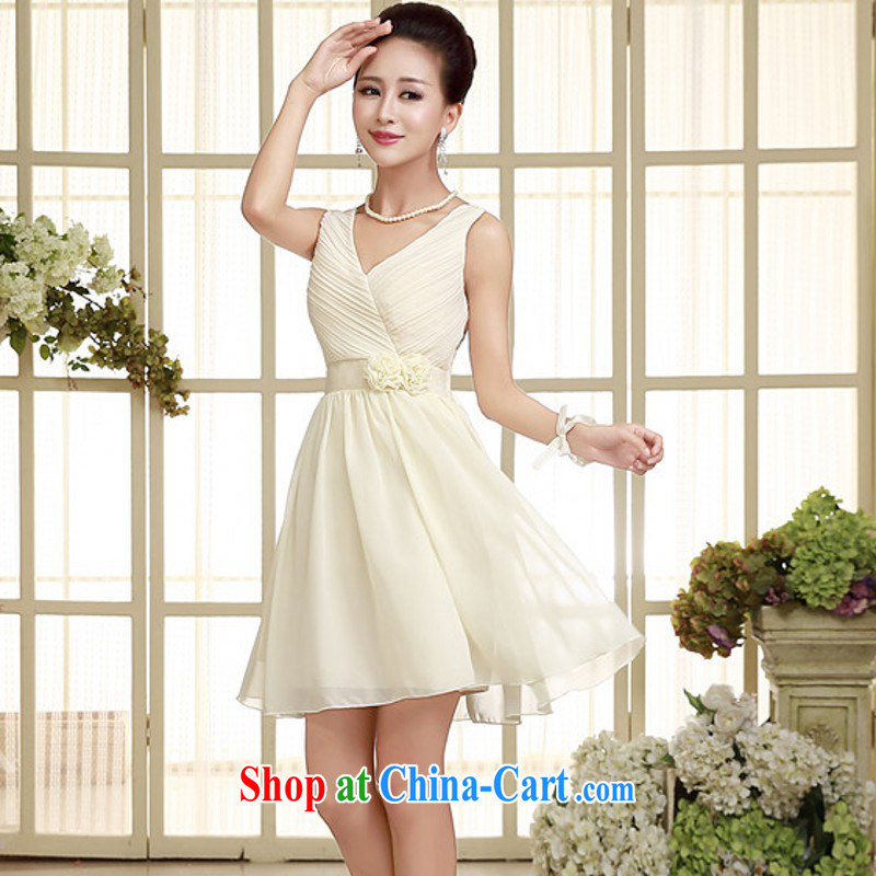The package-mail 2015 new sexy shoulders snow woven small dress V collar high-waist wedding dresses short bridesmaid dress sister dresses annual GALLUS DRESS champagne color code