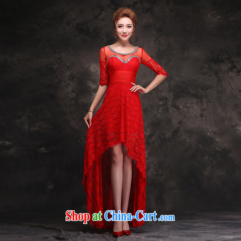 Hi Ka-hi 2014 new winter toast, service dress short before long and stylish red bridesmaid dress long gown beauty F 104 red left size tailored