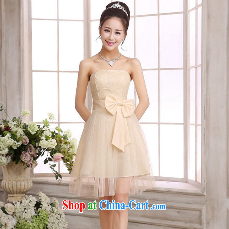 The delivery package as soon as possible the new annual small dress shaggy Web yarn Princess skirt bow tie bare chest lace red wedding bridesmaid sister ceremony dress straps dress champagne color code
