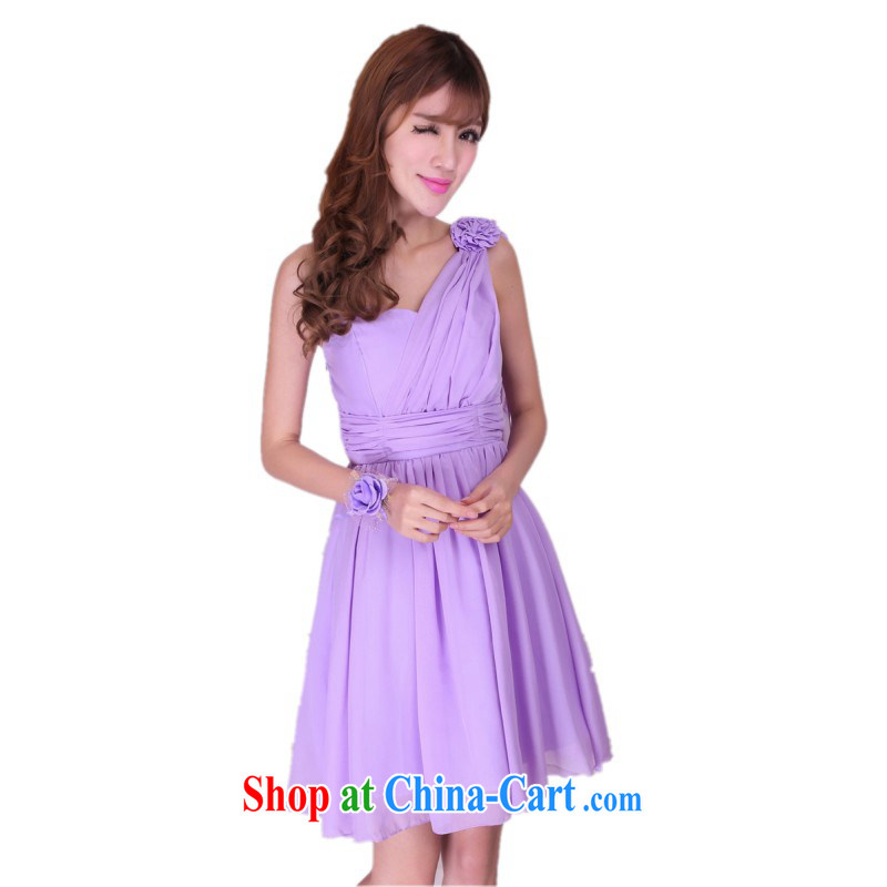 The delivery package as soon as possible the new Greek goddess softness snow woven long skirt the shoulder of dress sense annual meeting wedding bridesmaid and sister short dresses and short skirts purple are code