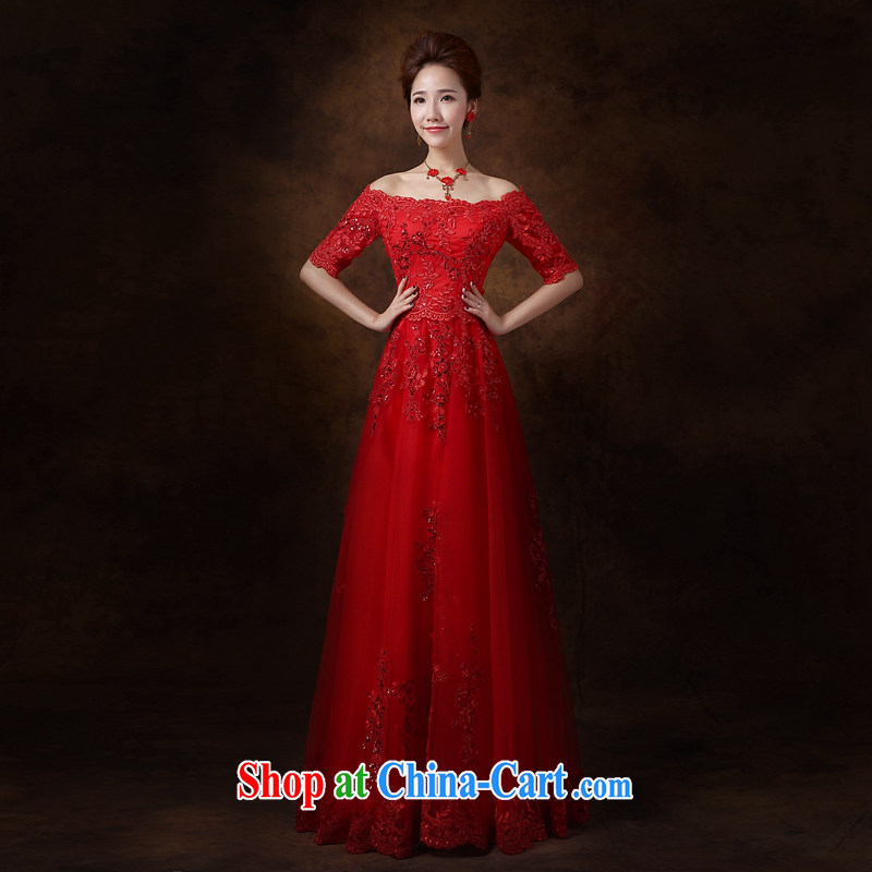 Cheng Kejie MIA toast Service Bridal Fashion 2015 new wedding dress a Field shoulder red long banquet dress female L