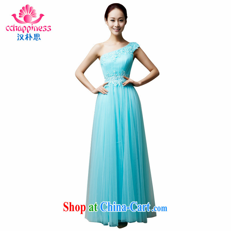 Han Park (cchappiness) 2015 new stylish single shoulder bows serving sweet bridesmaid banquet Annual Meeting Evening Dress mint green custom