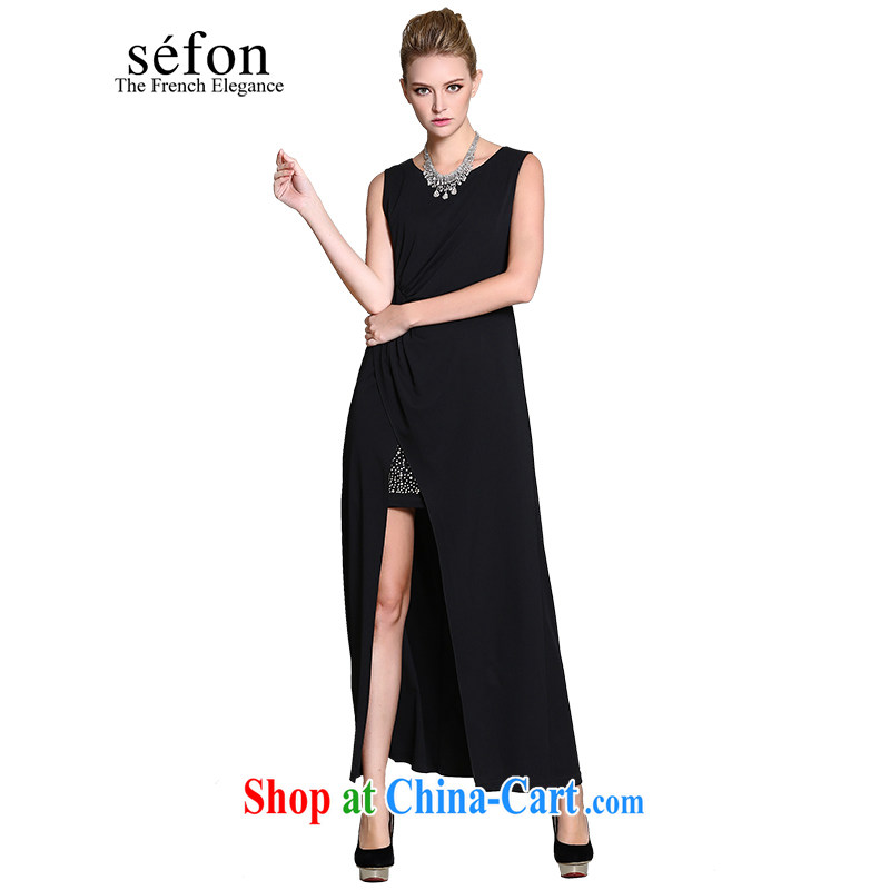 sefon Anderson maple 2015 spring new qualities and the forklift truck long dress dress women 9225 LD 110 dark/BK 3 M/160