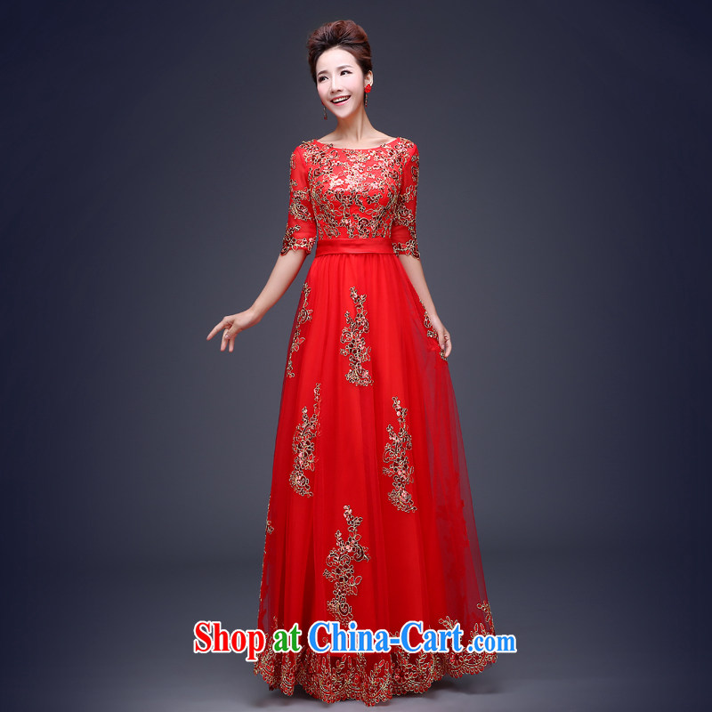 Jie MIA dress short 2015 new wedding dresses red bows Service Bridal Fashion long betrothal banquet long serving toast XS