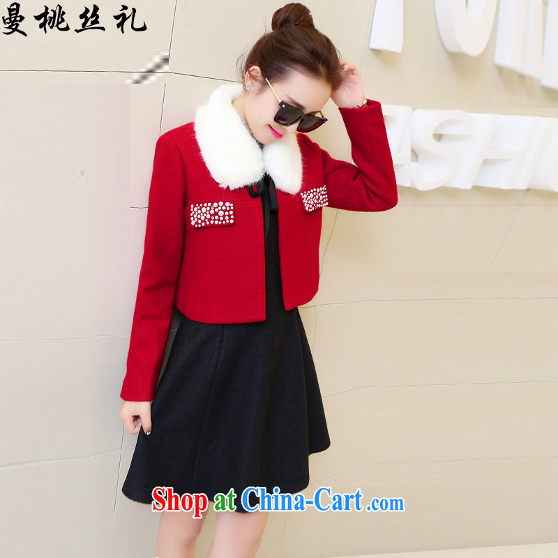 Cayman business population, 2015 new two-piece dress Korean Beauty two kits that gross marriages bows back door suit model with gross for red black skirt XXL