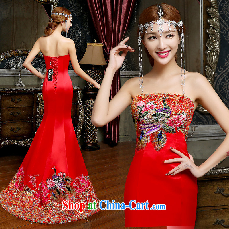 Code Hang Seng bridal 2014 stylish bows service beauty dress tail betrothal wedding at Merlion dress chest bare bows serving evening dress is tailored to serve toast tail, M