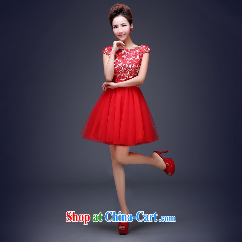 Jie MIA 2014 new bridal dresses serving toast red wedding wedding dress short lace dress the girl red XL
