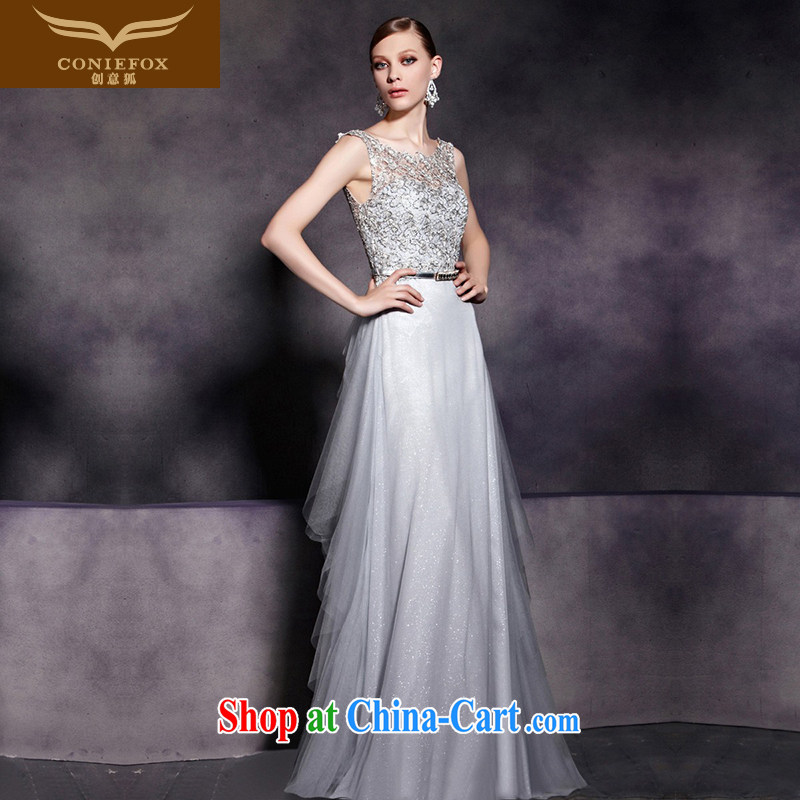 Creative Fox Evening Dress 2015 new bows dress silver bridal bridesmaid dress long skirt long dual-shoulder dress moderator dress 30,561 picture color M