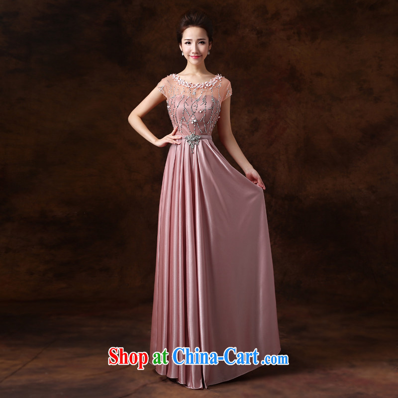 Jie MIA dress 2014 new Korean style double-shoulder parquet drilling bridal toast serving the banquet long serving performances winter ?? color XXL