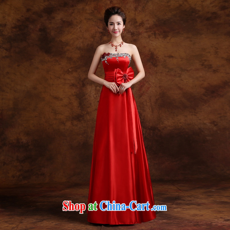 Cheng Kejie MIA toast service 2015 New Red wiped his chest long beauty, bridal wedding dress wood drill Banquet Hosted Service red XXL