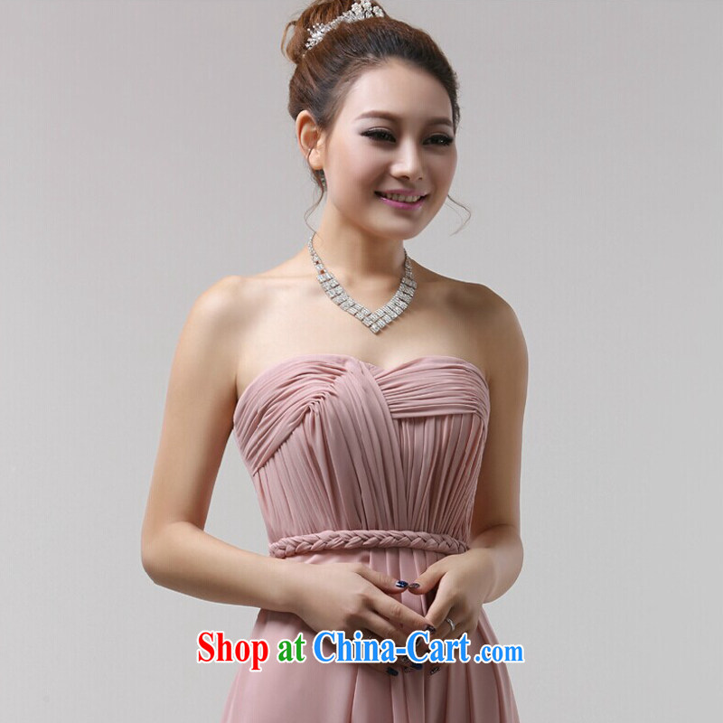 Jie MIA bridesmaid dress bridesmaid toast serving serving long fall 豆沙 color dress new girl evening dress uniform toast Mary Magdalene wrinkled chest XXL