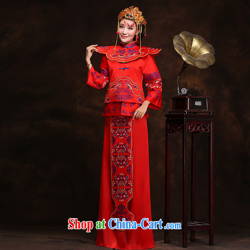 Hi Ka-hee-soo-wo service bridal gown married Yi Chinese marriage red Sau kimono toasting retro Phoenix beauty of cheongsam dress XH 66 Sau wo serving the Crown and earrings XXL