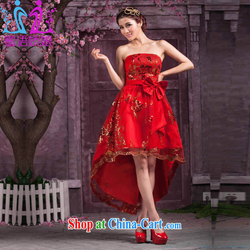 Honey, bride dresses short before long after 2015 new Mary Magdalene, chest strap marriages served toast the code pregnant women video thin bridesmaid clothing red tailored