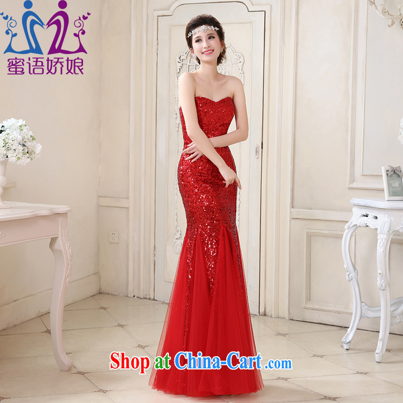 Honey, bride New Red dress crowsfoot beauty Evening Dress bride wedding toast. Stylish and elegant large code tie-evening dress red XXL