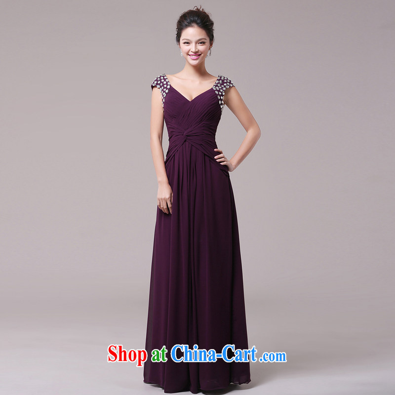 Jie MIA marriages served toast pink long 2014 shoulders V collar inserts drill beauty dress long skirt purple XXL