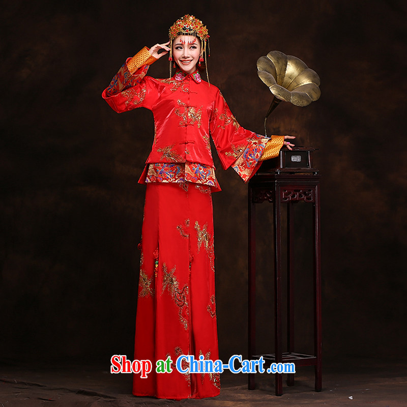 Hi Ka-hi new 2014 winter retro dresses show reel toast serving serving Chinese classical wedding dresses long XH 88 Sau wo service XXL