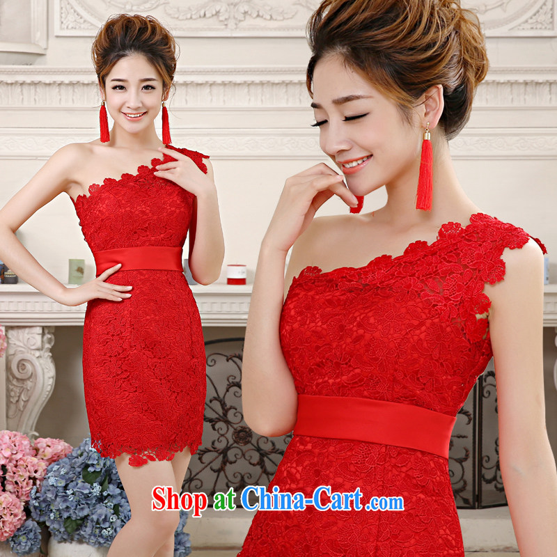 Code Hang Seng bridal 2014 New Red Korean bows dress lace single shoulder short skirts dresses small package and toast served dinner show with a tailored dress red M