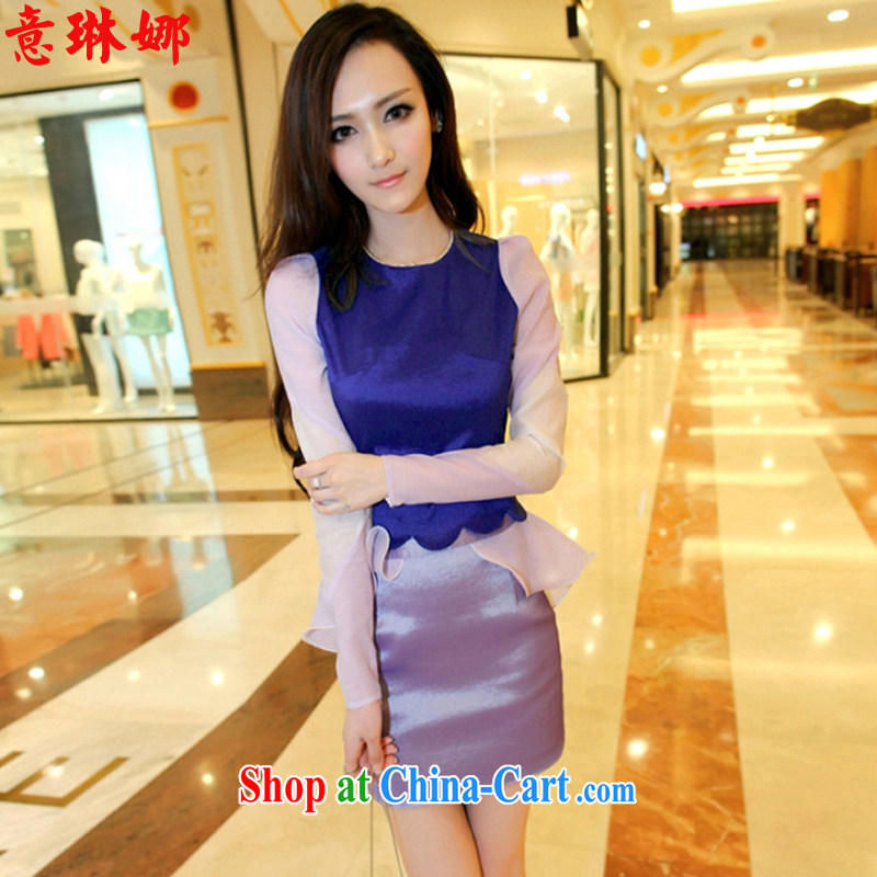 And Catherine Korean autumn 2015 new stylish spell color spell-kit package and dress 1971 dress picture color L