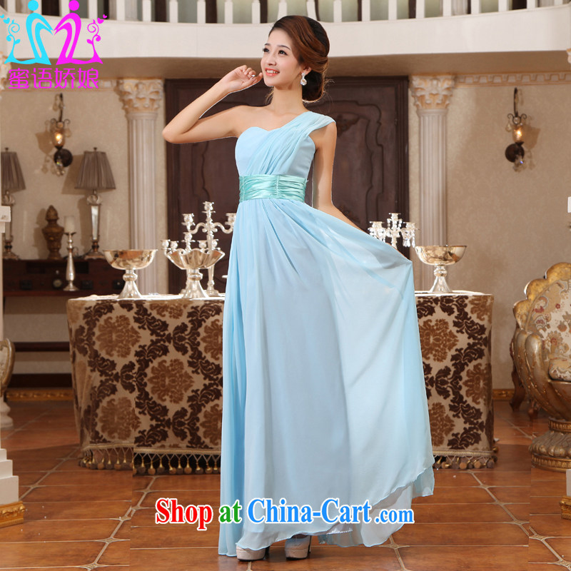 Honey, bride new bridal gown bridesmaid wedding toast clothing dress strap wedding short evening dress long single shoulder the code light blue XXL
